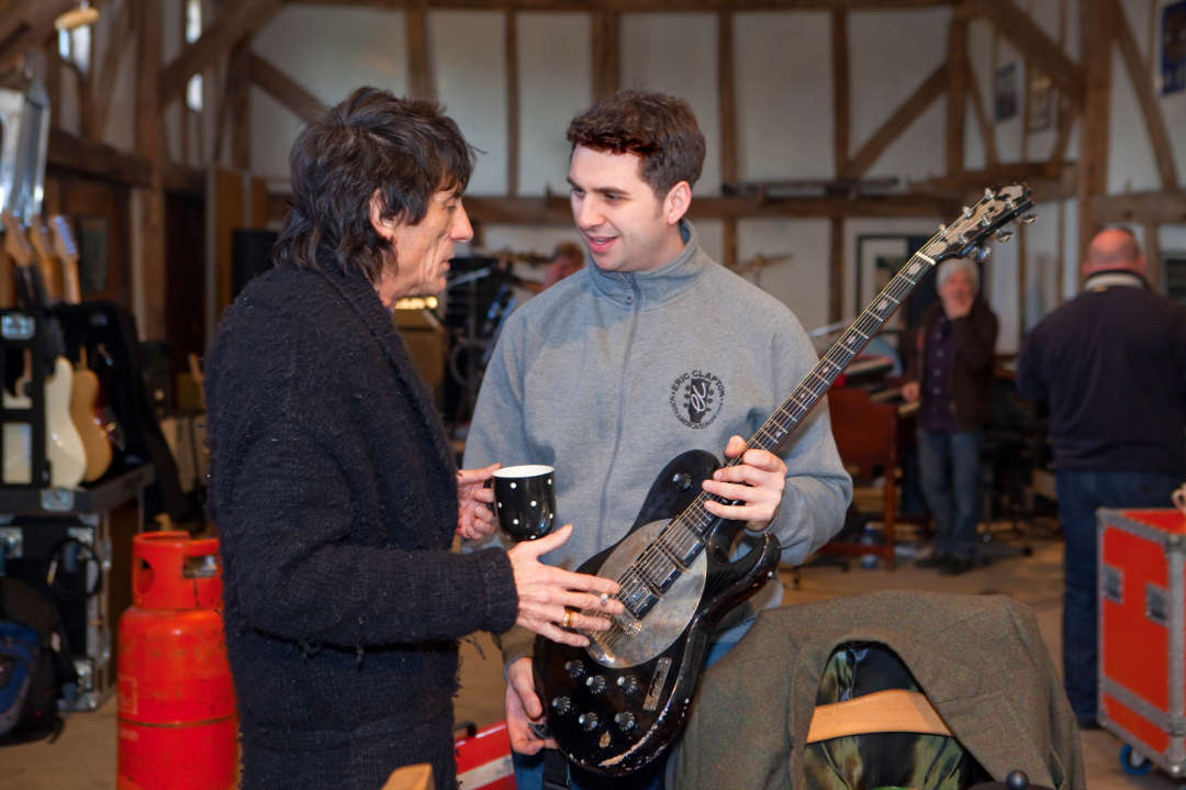 NO INTERNET USE PERMITTED ON IMAGE _ PRINT MEDIA ONLY  DANPIC's; PHOTO By © Stephen Daniels  08/03/2010  Kenney Jones, Ronny Woods, Ian McLagan, Mick Hucknall, Glen Matlock & The Face, rehearsal, Ewhurst Green, Surrey  L/R Ronny Wood and Barnaby Watson  NO INTERNET USE PERMITTED ON IMAGE _ PRINT MEDIA ONLY All images are supplied under the terms and conditions of Stephen Daniels and not the publication which use them.